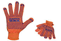 Перчатки х/б с ПВХ-точками 10 кл, 2 нити оранжевые Master Tools 83-0300