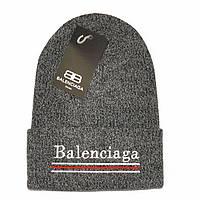 Трендовая женская вязаная шапка Balenciaga темно-серая молодежная новинка 2018 года демисезонная реплика