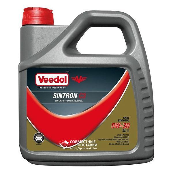 Масло моторное VEEDOL SINTRON C3 5W‐30 4 литра Премиум-класс синтетика