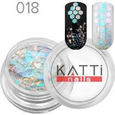 KATTi Блестки в баночке 018 mix hex size бело-голубые единорог с красным переливом