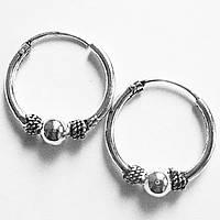 """Серьги кольца """"Тайское серебро - 1"""" (диаметр 12 мм), фото 1"""
