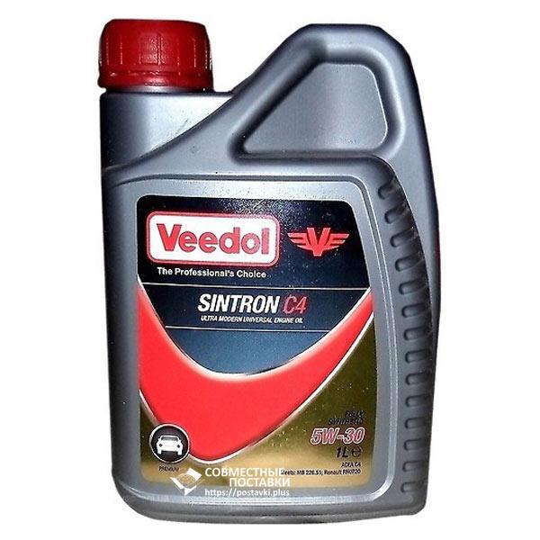 Масло моторное VEEDOL SINTRON C4 5W‐30 4 литра Премиум-класс синтетика