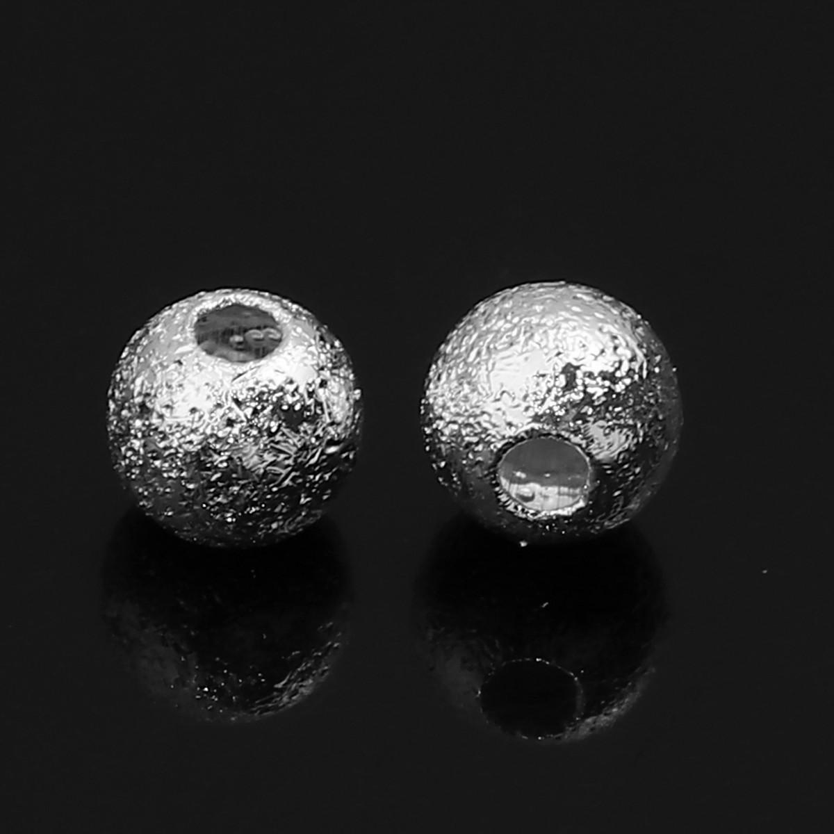 Бусина, Рыхлая, Медь, Cфера, Цвет: Серебряный тон, 5 мм диаметр, 1.3 мм