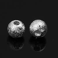 Бусина, Рыхлая, Медь, Cфера, Цвет: Серебряный тон, 5 мм диаметр, 1.3 мм, фото 1