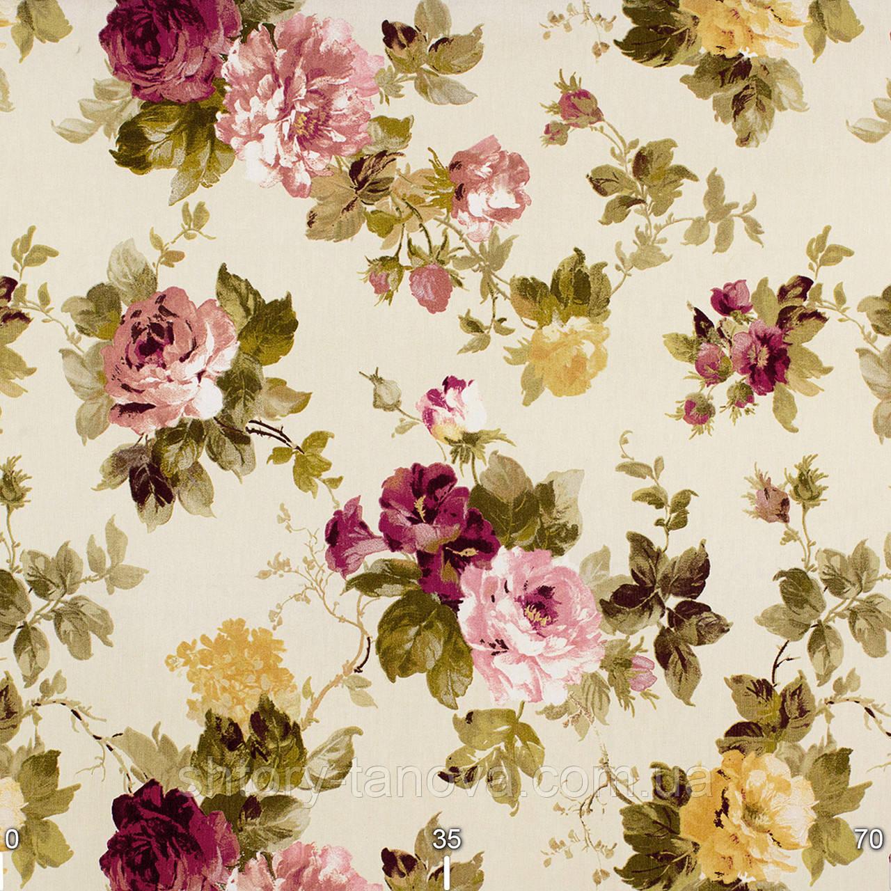 Штори у стилі прованс троянди малиновий