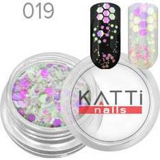 KATTi Блестки в баночке 019 mix hex size бело-розовые единорог с салатовым переливом