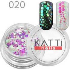 KATTi Блестки в баночке 020 mix hex size бело-розовые с салатовым отливом