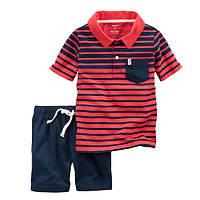 Набор футболка-поло и шорты для мальчика Carters в полоску красный