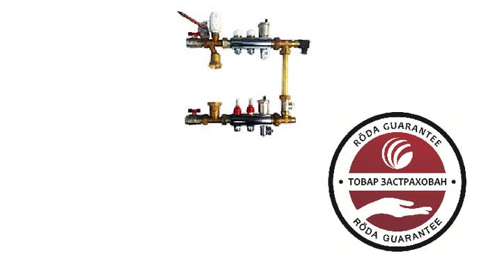 Коллектор для тёплого пола Roda 8 выходов (нержавейка) Смесительная группа,расходомеры,термоклапана,байпас.