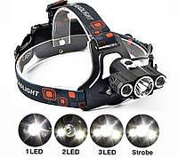 Налобный фонарь W602 + Авто зарядка + крепления на велосипед