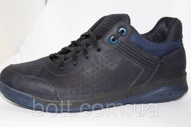 Кроссовки синие кожаные, фото 3