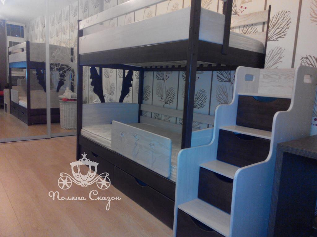 """Кровать двухъярусная из массива ясеня с вместительным комодом-лестницей! ЖК """"Комфорт Таун"""""""