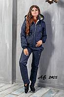 Женский зимний костюм на овчине (р.42-48)\ темно-синий, фото 1