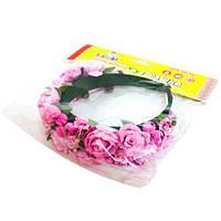 """Цветочный обруч """"Розовые розы"""" (широкий) ОУ002у-2"""