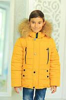 Зимняя детская куртка «Ден» на мальчика с натуральным мехом ТМ MANIFIK