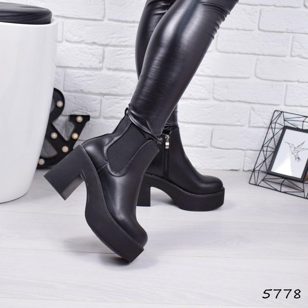 """Ботинки, ботильоны черные """"Velington"""" эко кожа, повседневная, демисезонная, осенняя, женская обувь"""