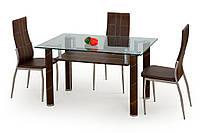 Стол обеденный стеклянный GAVIN коричневый Halmar