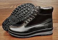 Мужские черные зимние ботинки Timberland. Натуральная кожа и мех.