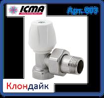 Угловой ручной вентиль Icma простой регулировки верхний для железной трубы 1/2