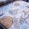 Бязь морская с компасом, штурвалом, якорем и кораблями, ширина 220 см