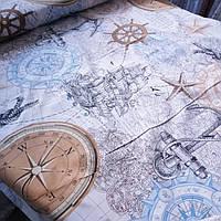 Бязь морская с компасом, штурвалом, якорем и кораблями, ширина 220 см, фото 1