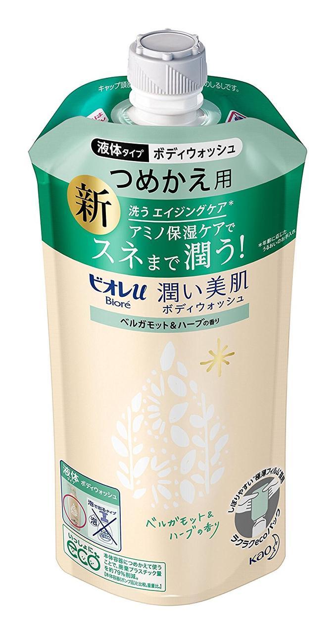 """Увлажняющий гель для душа с аминокислотами KAO """"Biore U"""", аромат бергамота и трав"""