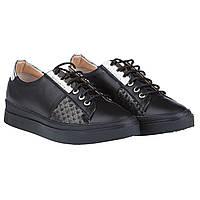 Женские кеды FAVI (черные, с серебристой вставкой, удобные кожаные,  стильные) 38 8f989c03d4b