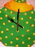 Часы настенные Чайник с чашкой зеленые в желтый горошек Часы для кухни Ручная работа, фото 4