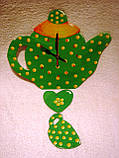Часы настенные Чайник с чашкой зеленые в желтый горошек Часы для кухни Ручная работа, фото 8