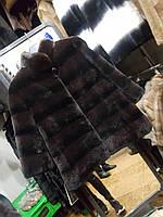 Полушубок из бобрика со стойкой из норочки в шоколадном цвете, 70 см