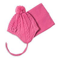 "Зимняя шапка + манишка ""KIDS"" на девочек 3-9 лет (Р. 3/5, 6/8) ТМ Peluche&Tartine Begonia Pink F18 ACC 52 EF"
