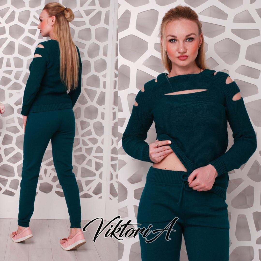 Стильний жіночий светр, смарагд