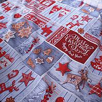 Тканина рогожка з новорічними пряниками та іграшками, ширина 150 см, фото 1