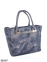 Простая повседневная женская сумка с минимумом декора серая