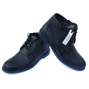 Польская зимняя обувь: мужские кожаные ботинки, синего цвета, на натуральном меху, от фабрики Polbut