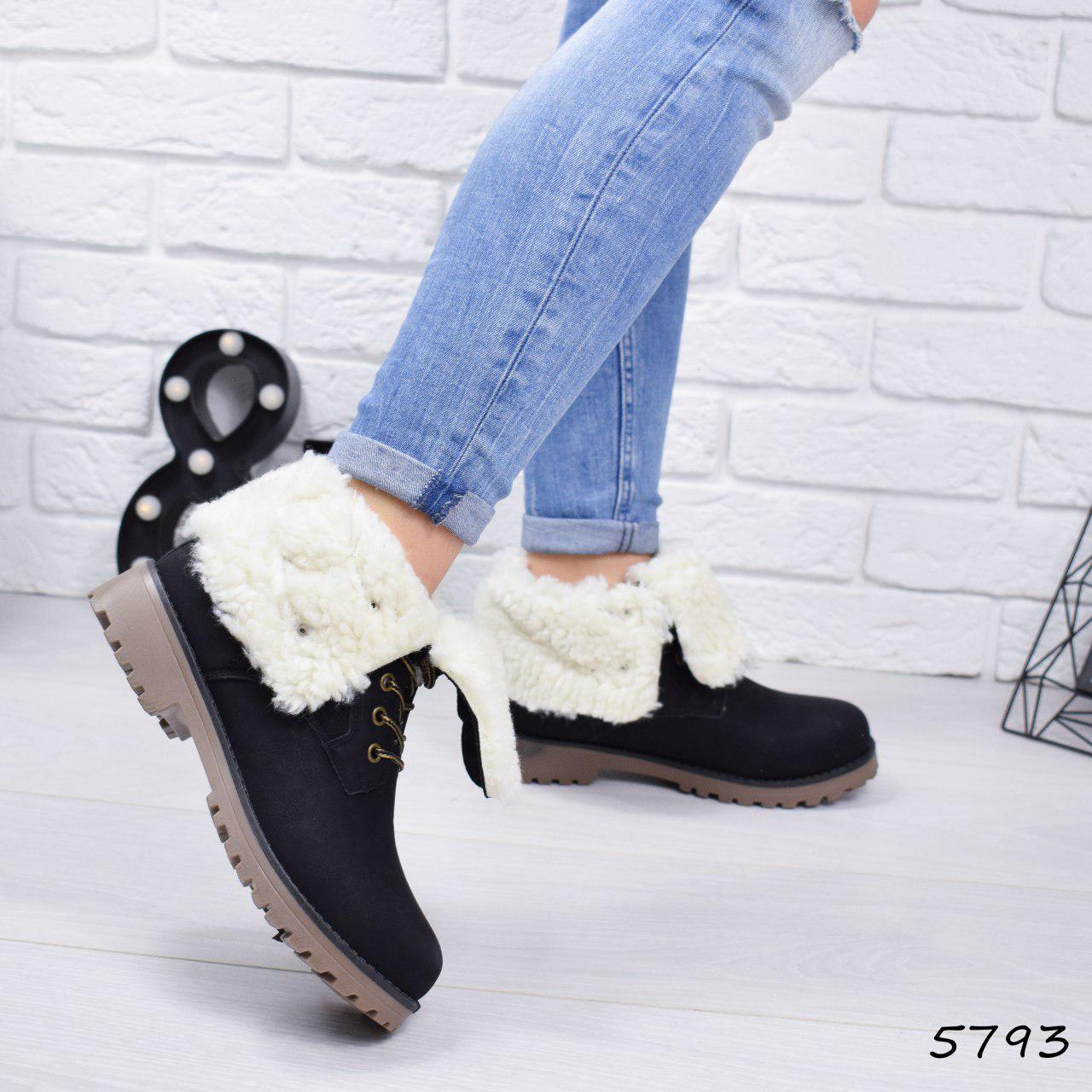 """Ботинки, ботильоны черные ЗИМА """"Tanya"""" эко нубук, повседневная, зимняя, теплая, женская обувь"""