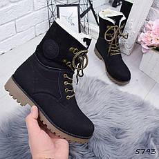 """Ботинки, ботильоны черные ЗИМА """"Tanya"""" эко нубук, повседневная, зимняя, теплая, женская обувь, фото 3"""