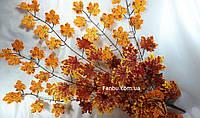 Штучні осінні гілки клена(середина осені)1 упаковка - 5 гілок 95см( помаранчеві з жовтим листя), фото 1