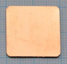 Медная пластина. Термопрокладка 20*20*0,3 мм. 1 шт
