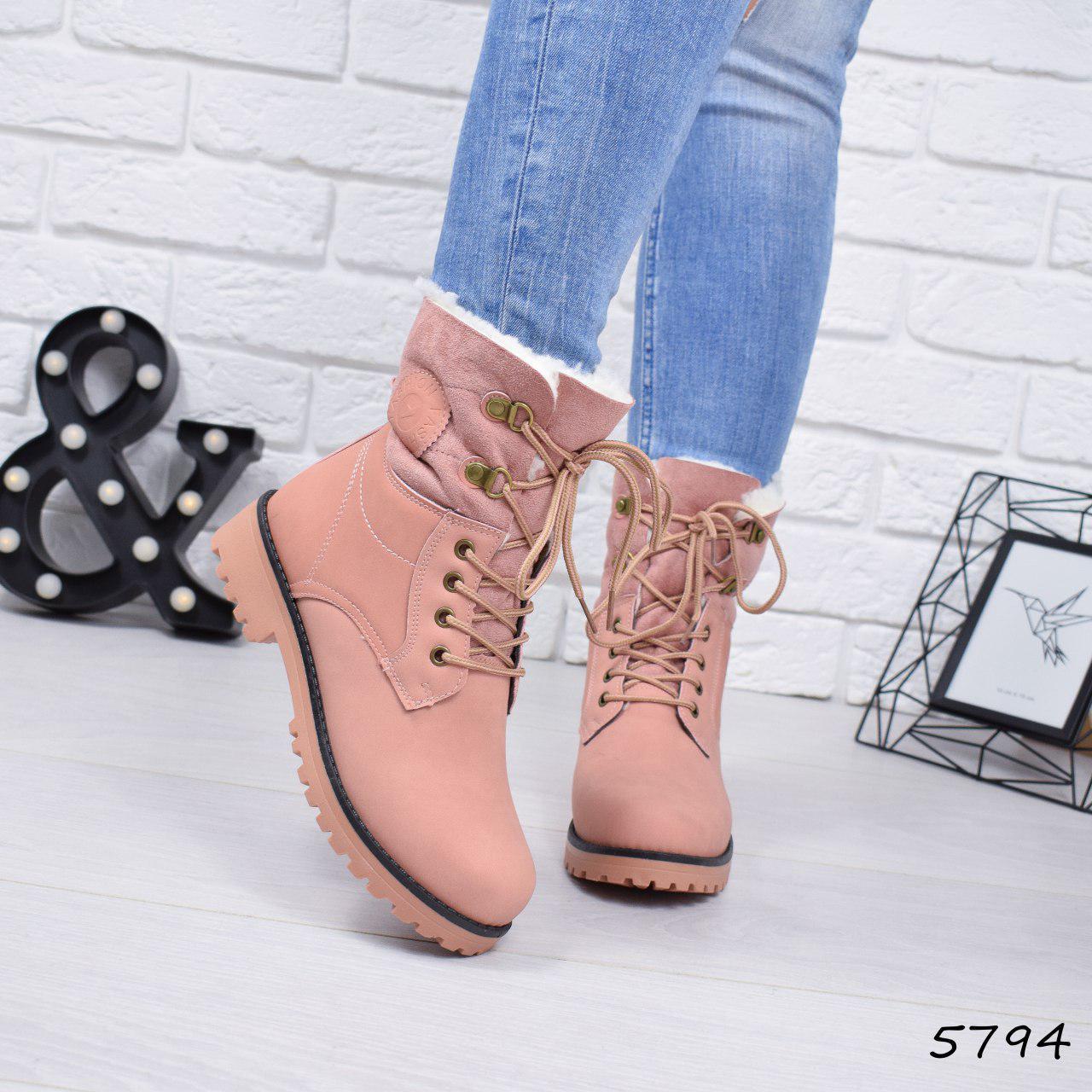 """Ботинки, ботильоны пудровые ЗИМА """"Tanya"""" эко нубук, повседневная, зимняя, теплая, женская обувь"""