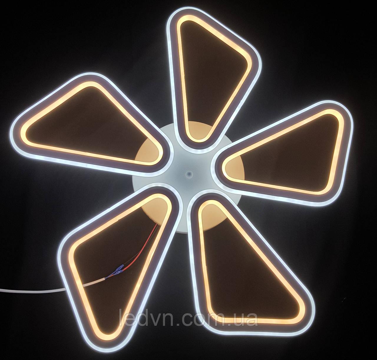Світлодіодна стельова люстра на 5 пелюстків біла