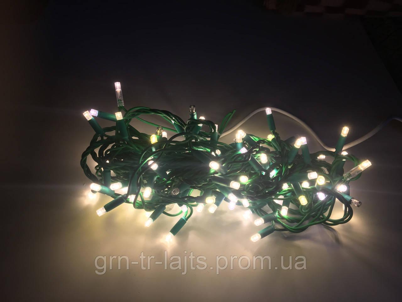 Уличная гирлянда Flash-String UASTANDART зеленый кабель Теплый белый без флеша 10м 100 диодов