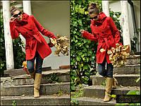 Пальто женское демисезонное кашемировое цвет кораловий ,весенние полупальто молодежное