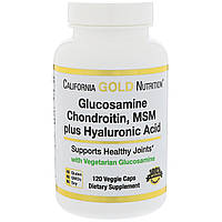 Глюкозамин, хондроитин, метилсульфонилметан плюс гиалуроновая кислота, 120 капсул California Gold Nutrition