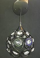 Подвесной светильник шар в черном цвете с елементами хрусталя