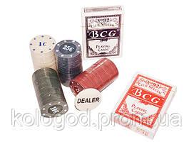Набор для Игры в Покер 100 Фишек 2 Колоды Карт