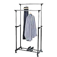 Вешалка Напольная для Одежды Стойка Double Pole Clother Hose Двойная Телескопическая Big, фото 1