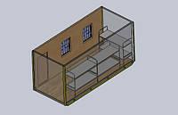 Бытовое помещение на 6 человек - размер 6,0 х 2,4 х 2,9 метра Бытовка с 2-мя окнами для оптимального размещени