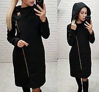 Женское кашемировое пальто на молнии с капюшоном