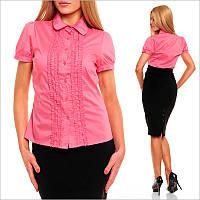 Розовая классическая женская блузка приталенного покроя